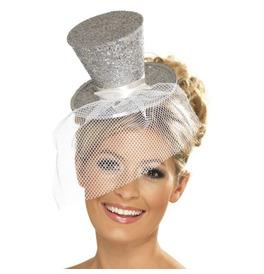 Fever Mini Top Hat on Headband, Silver