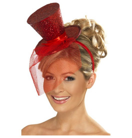 Fever Mini Top Hat on Headband, Red