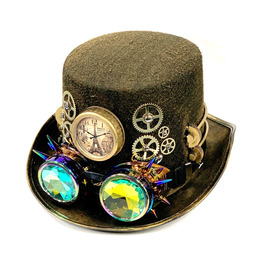 Steampunk Hat With Rainbow Goggles