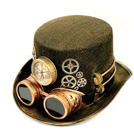 Steampunk Hat with Bronze Goggles