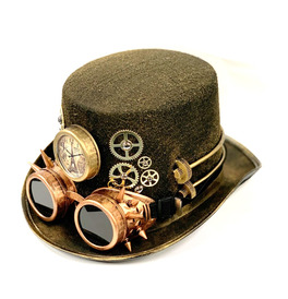 Steampunk Hat with Bronze Spike Goggles