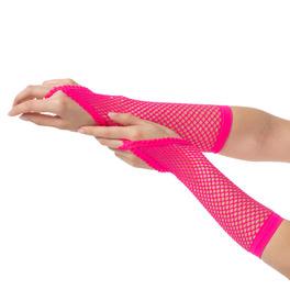 Finger Loop Fishnet Gloves, Pink