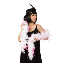 Stylex Party Feather Boa, White with Pink Tips