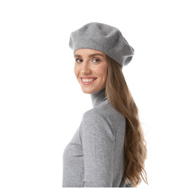 Stylex Party Beret Hat, Grey