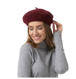 Stylex Party Beret Hat, Burgundy