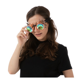 Steampunk Goggles, Holographic Rose Gold