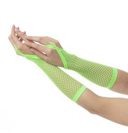 Finger Loop Fishnet Gloves, Green
