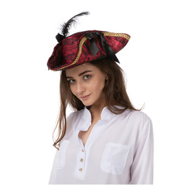 Pirate Hat, Red Black Lace