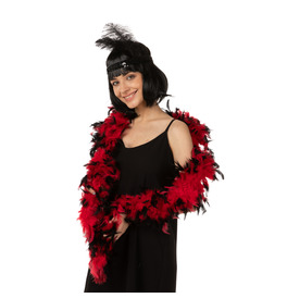 Stylex Party Feather Boa, Red with Black Tips