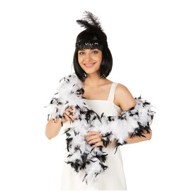 Stylex Party Feather Boa, White with Black Tips