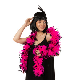 Stylex Party Feather Boa, Pink with Black Tips