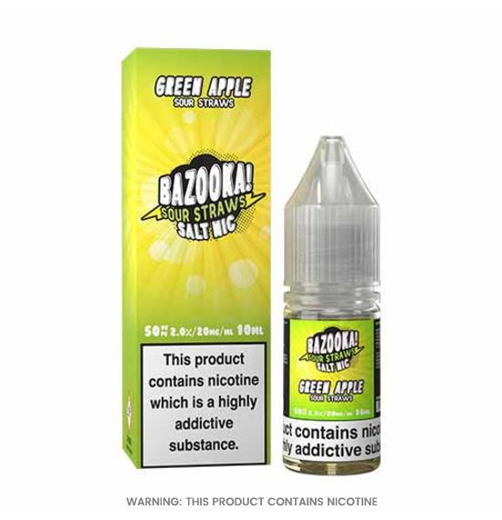 Green Apple Sour Nic Salt E-Liquid 10ml by Bazooka