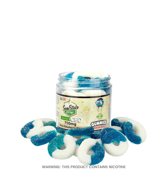 Blue Raspberry Rings CBD Gummies by Sun State Hemp