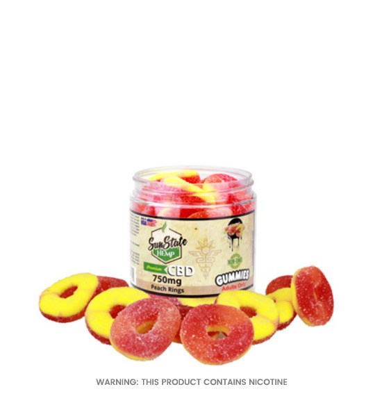 Gummy Peach Rings CBD Gummies By Sun State Hemp